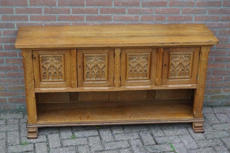 Antique Gothic Revival Solid Oak Sideboard / Sidetable / 1920s 4-Door Credenza For Sale 13