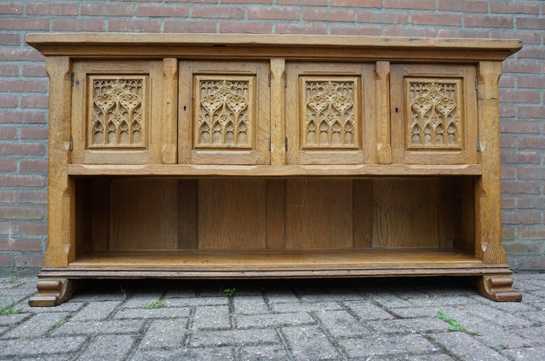 Dutch Antique Gothic Revival Solid Oak Sideboard / Sidetable / 1920s 4-Door Credenza For Sale