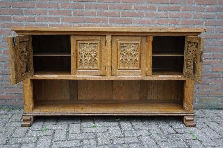 Hand-Carved Antique Gothic Revival Solid Oak Sideboard / Sidetable / 1920s 4-Door Credenza For Sale