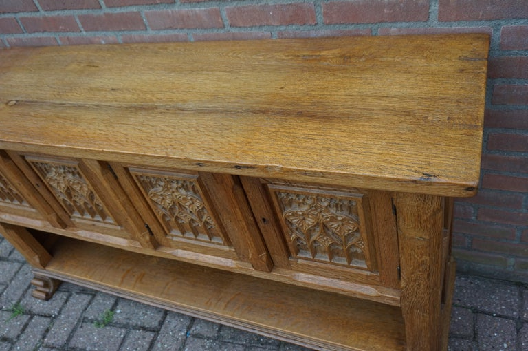 20th Century Antique Gothic Revival Solid Oak Sideboard / Sidetable / 1920s 4-Door Credenza For Sale