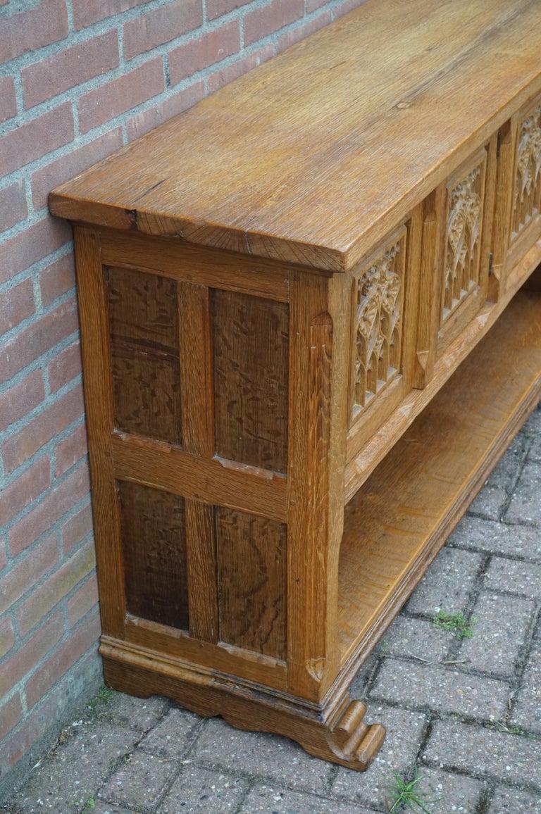Brass Antique Gothic Revival Solid Oak Sideboard / Sidetable / 1920s 4-Door Credenza For Sale