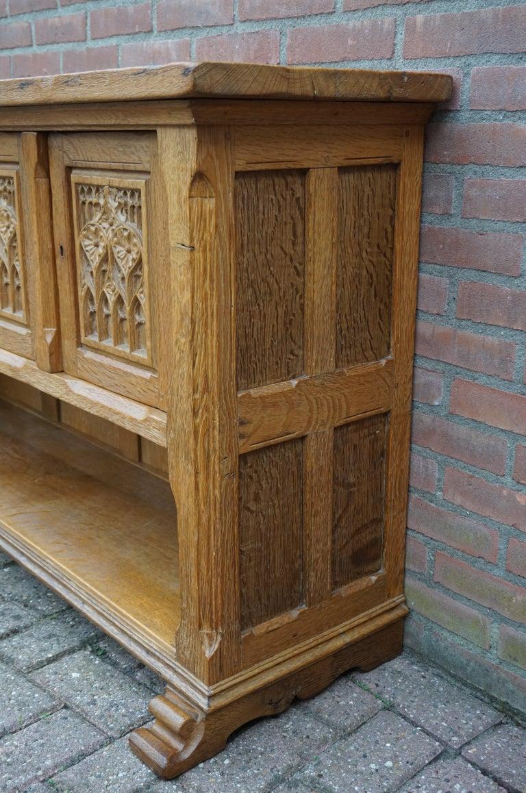 Antique Gothic Revival Solid Oak Sideboard / Sidetable / 1920s 4-Door Credenza For Sale 1