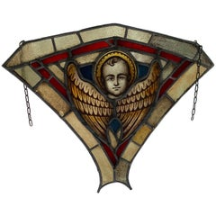 Antique Gothic Revival Stained and Glass Window Hanger Panel