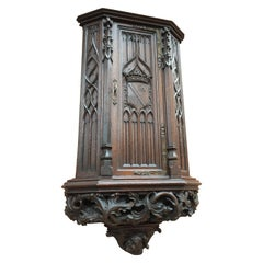 Antique Gothic Revival Wall & Key Cabinet W. Hand Carved Church Windows & Guard