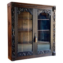 Antique Gothic Solid Oak Bookcase Heavily Carved Gothic Glazed circa 1880 No. 2