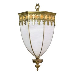 Antique Gothic Style Slag Glass & Brass Octagon Chandelier Pendant Light, 2 Avai