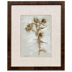 Antique Gouache Nature Study by Irish/American Artist Hugh Newell, Thistle Green