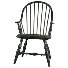 Antique Grain Painted Continuous Arm Bow Back Windsor Childs Chair, 20th Century