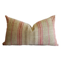 Antique Grainsack Linen Stripe Pillows in Natural Tones with Pink Stripes