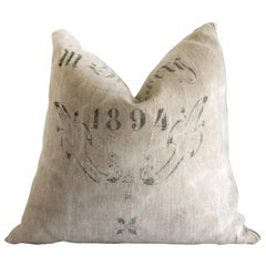 Antique Grainsack Pillow with Original Stamp Writing