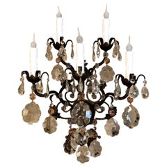 Antique Grand Italian Wrought Iron and Crystal Wall Sconce