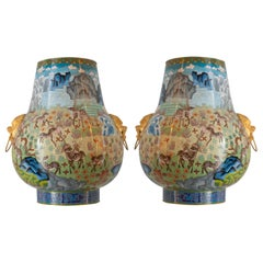 Antique Grand Pair of Cloisonné Urns with Woodland Scene