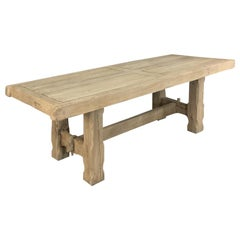 Antique Grand Rustic Stripped Oak Dining Table
