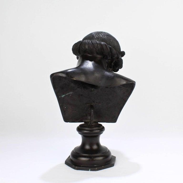 19th Century Antique Grand Tour Bronze Bust of Dionysius For Sale