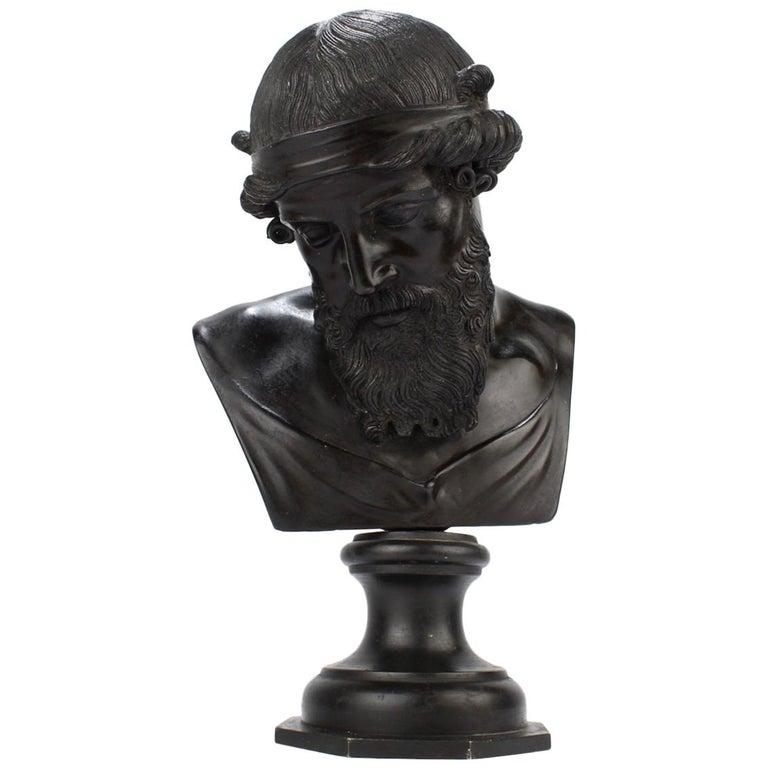 Antique Grand Tour Bronze Bust of Dionysius For Sale