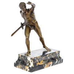 Antique Grand Tour Bronze Roman Borghese Gladiator, 19th Century