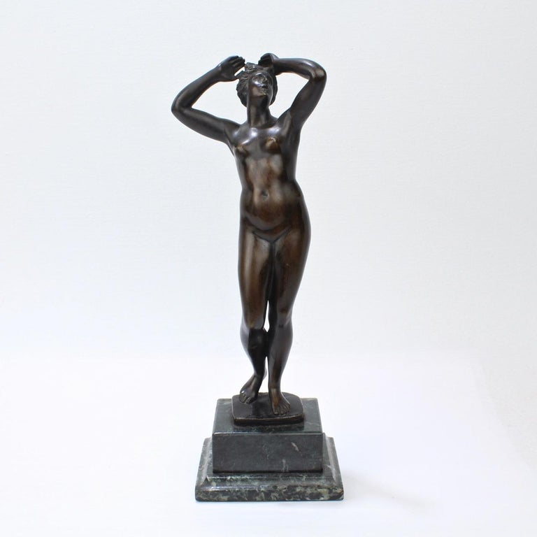 A wonderful antique bronze of a Venus.  Mounted on a marble plinth.  Measures: Height ca. 11 1/2 in.