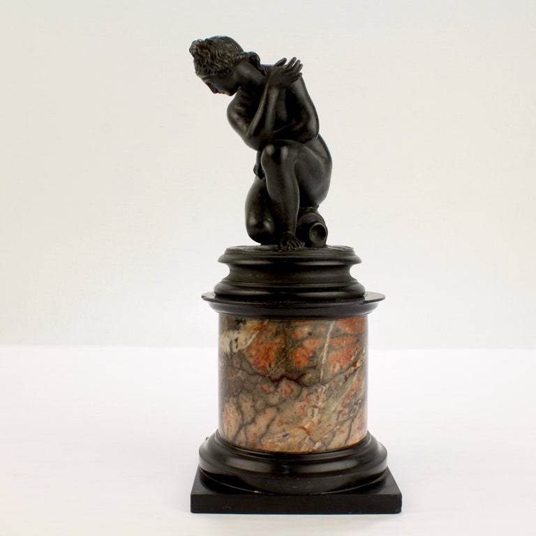 Patinated Antique Grand Tour Bronze Sculpture of the Crouching Venus after Giambologna For Sale