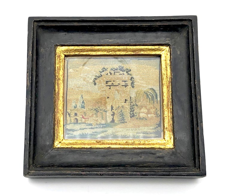 This is a rare embroidered Grand Tour souvenir of an italian landscape with archutectural motifs.