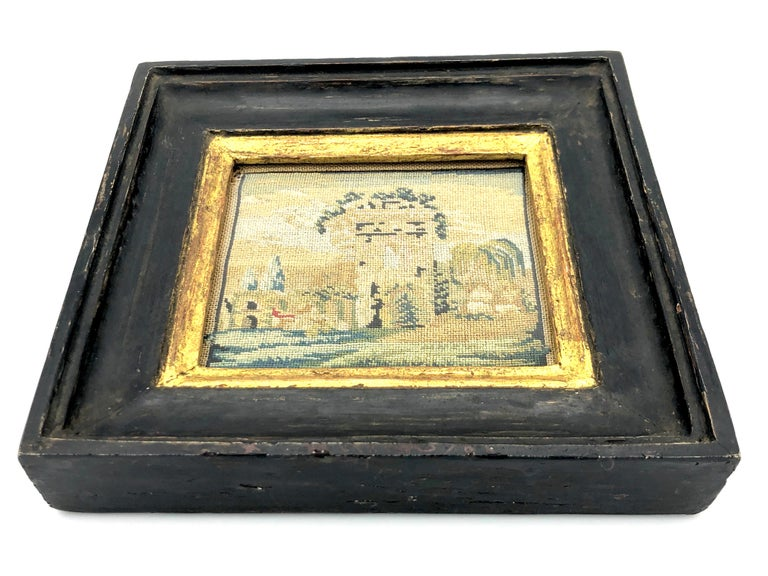 George III Antique Grand Tour Italy Miniature Landscape Monuments Campagna Embroidery For Sale