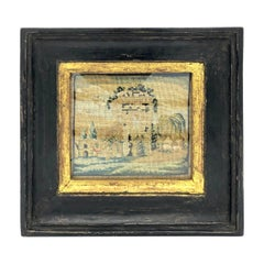 Antique Grand Tour Italy Miniature Landscape Monuments Campagna Embroidery