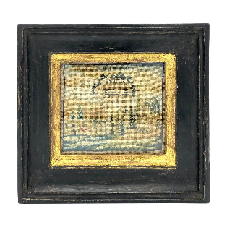 Antique Grand Tour Italy Miniature Landscape Monuments Campagna Embroidery For Sale