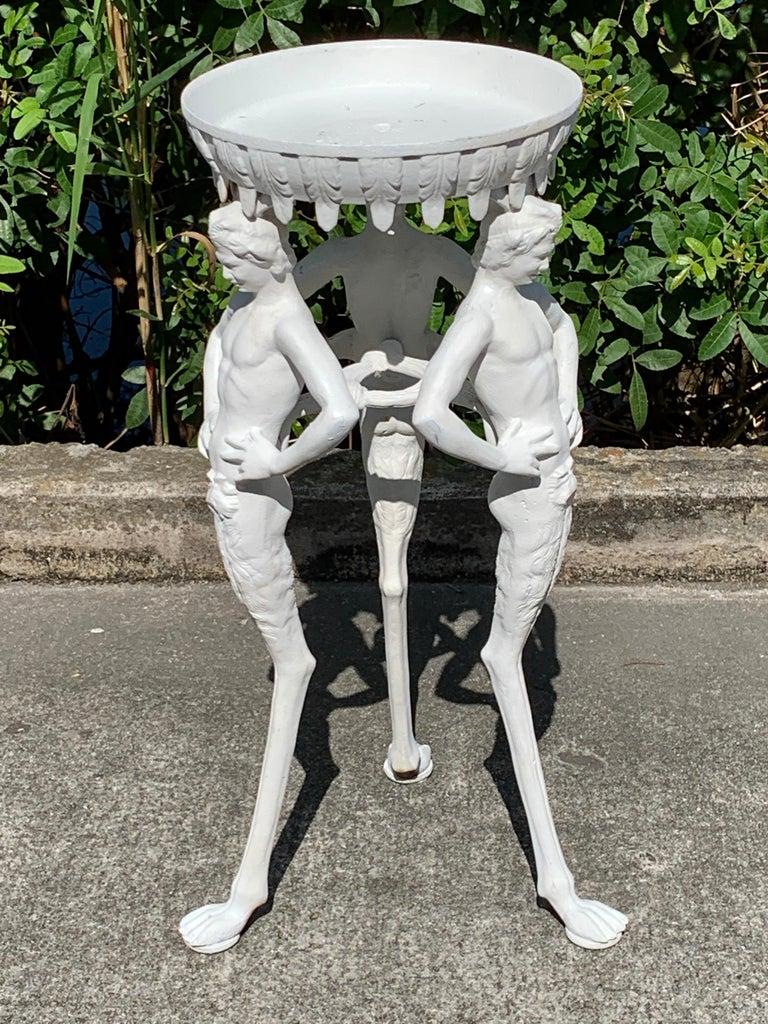 Painted Antique Grand Tour Pompeian Cast Iron Plant Stand or Pedestal For Sale