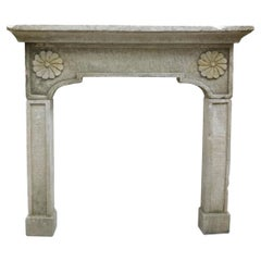 Antique Gray Artificial Stone Fireplace with Sunflowers, 1900 Italy