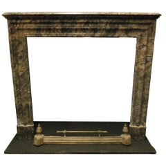 Antique Gray Marble Mantle Fireplace, 19th Century Italy
