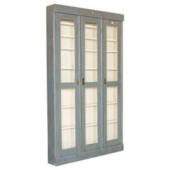 Antique Gray Painted Very Narrow 3-Door Cabinet Bookcase