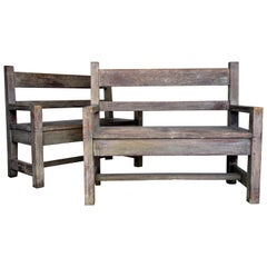 Antique American Arts and Craft Period Cerused Oak Benches