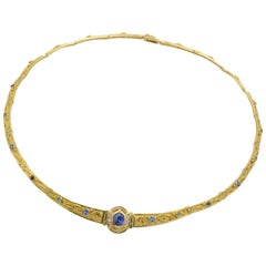 Antique Greek Gold Necklace Links of Sapphires Diamonds Emeralds and Rubies