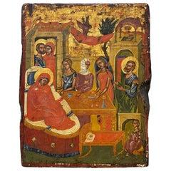 "Antique Greek Icon ""Nativity Scene"" 19th Century"