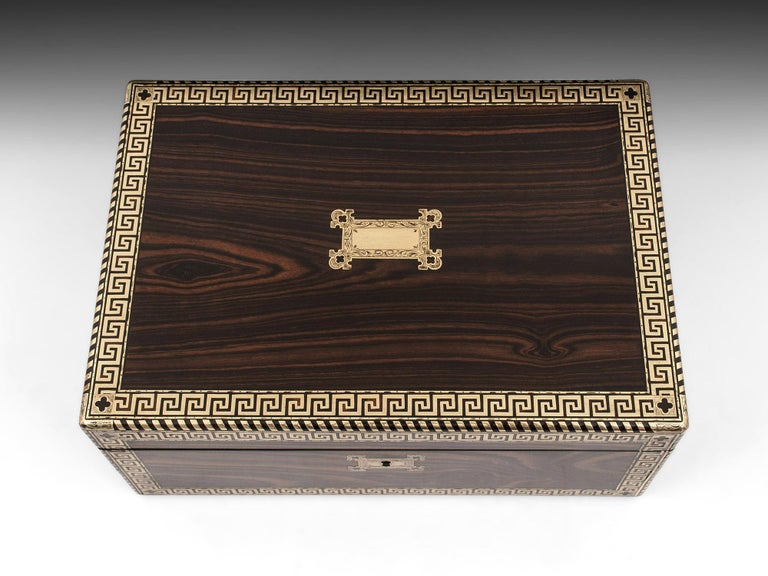Victorian Antique Greek Key Calamander Brass Writing Box, 19th Century For Sale