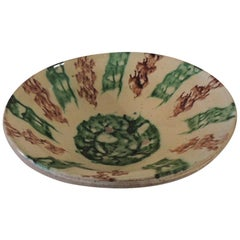Antique Green and Brown Glazed Terracotta Bowl
