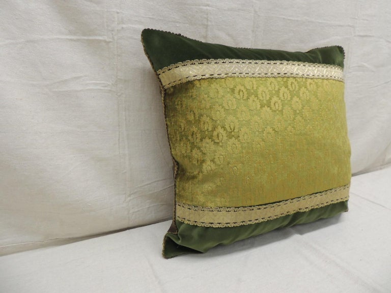 Antique green and gold Gaufrage silk velvet square decorative pillow.