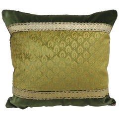 Antique Green and Gold Gaufrage Silk Velvet Square Decorative Pillow