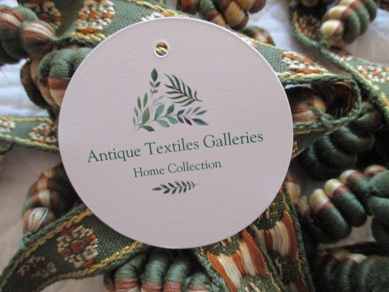 French Antique Green and Gold Trim and Tassel Passementerie For Sale
