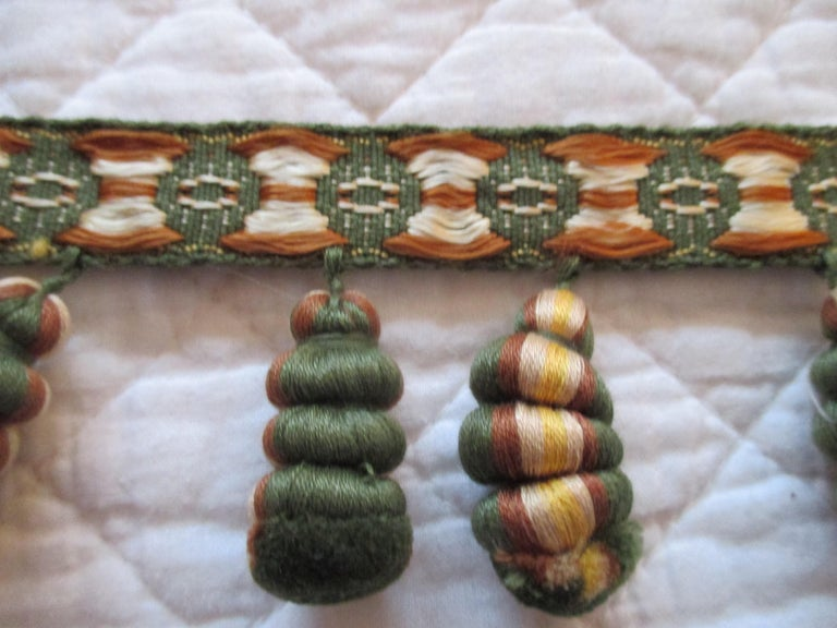 Hand-Crafted Antique Green and Gold Trim and Tassel Passementerie For Sale