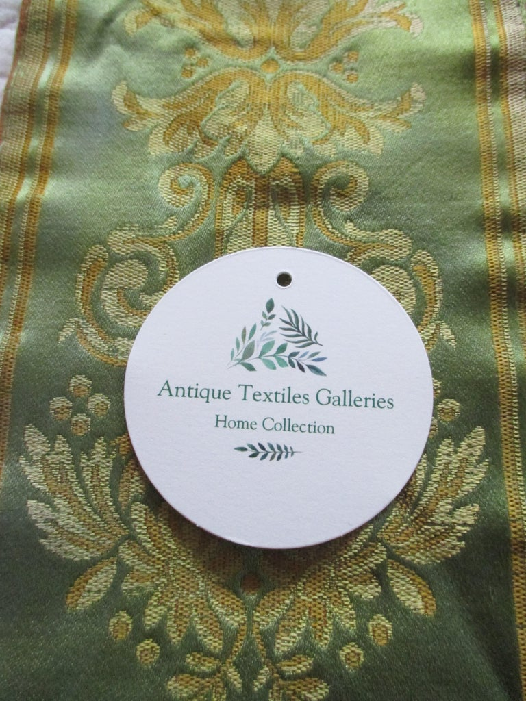 Regency Antique Green and Gold Woven Silk French Ribbon For Sale