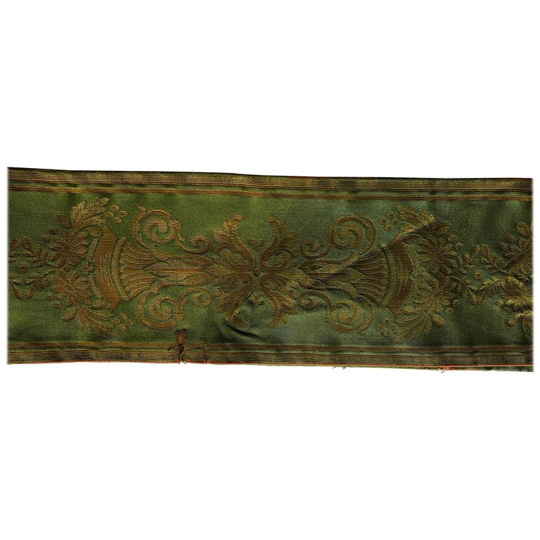 Antique Green and Gold Woven Silk French Ribbon For Sale