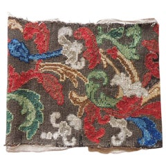 Antique Green and Red Petit Point Woven Tapestry Fragment