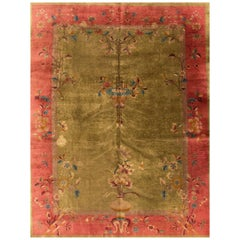 Antique Green Art Deco Chinese Wool Rug
