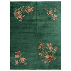 Antique Green Chinese Art Deco Wool Rug
