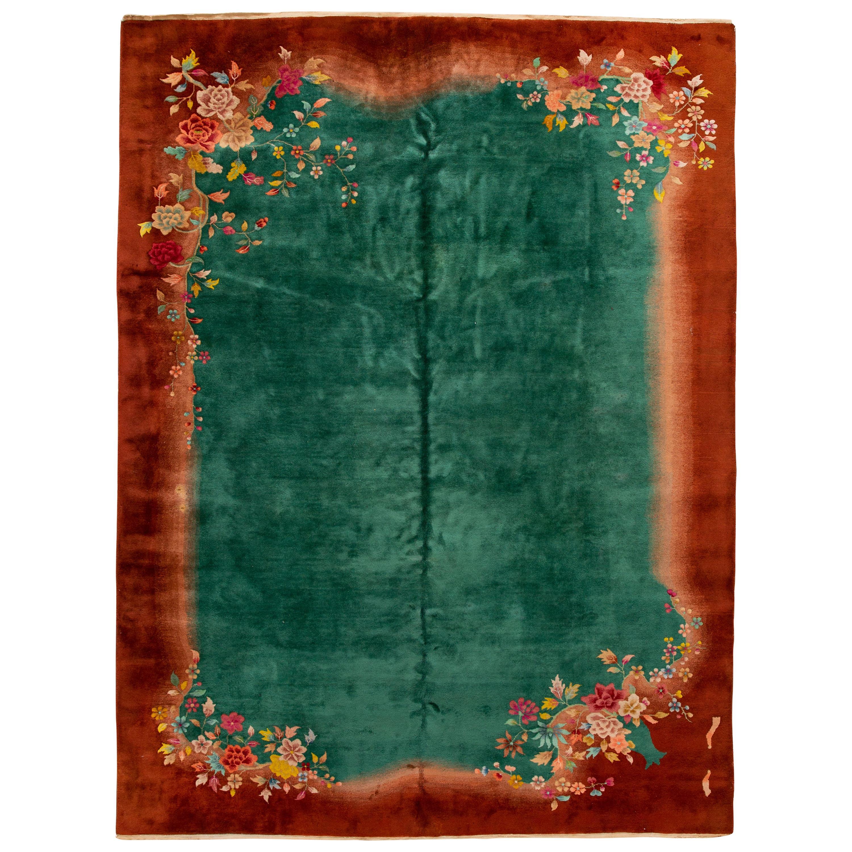 Antique Green Chinese Peking Wool Rug
