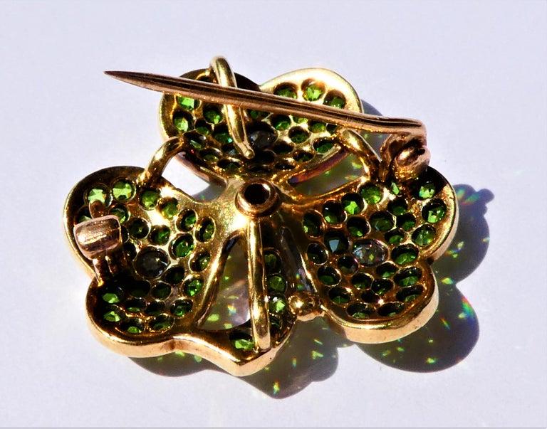 Art Nouveau Antique Green Demantoid Garnets and Diamonds 14 Karat Gold Cloverleaf Brooch For Sale