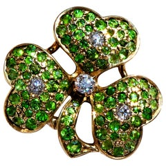 Antique Green Demantoid Garnets and Diamonds 14 Karat Gold Cloverleaf Brooch