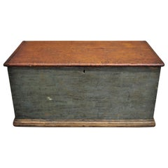 Antique Green Distressed Painted Blanket Chest Trunk with Dovetail Construction