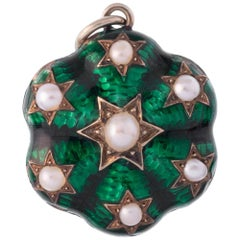 Antique Green Enamel and Pearl over 12 Karat Gold Charm