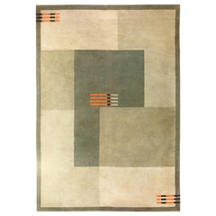 Antique Green English Art Deco Carpet. Size: 7 ft 4 in x 10 ft 5 in